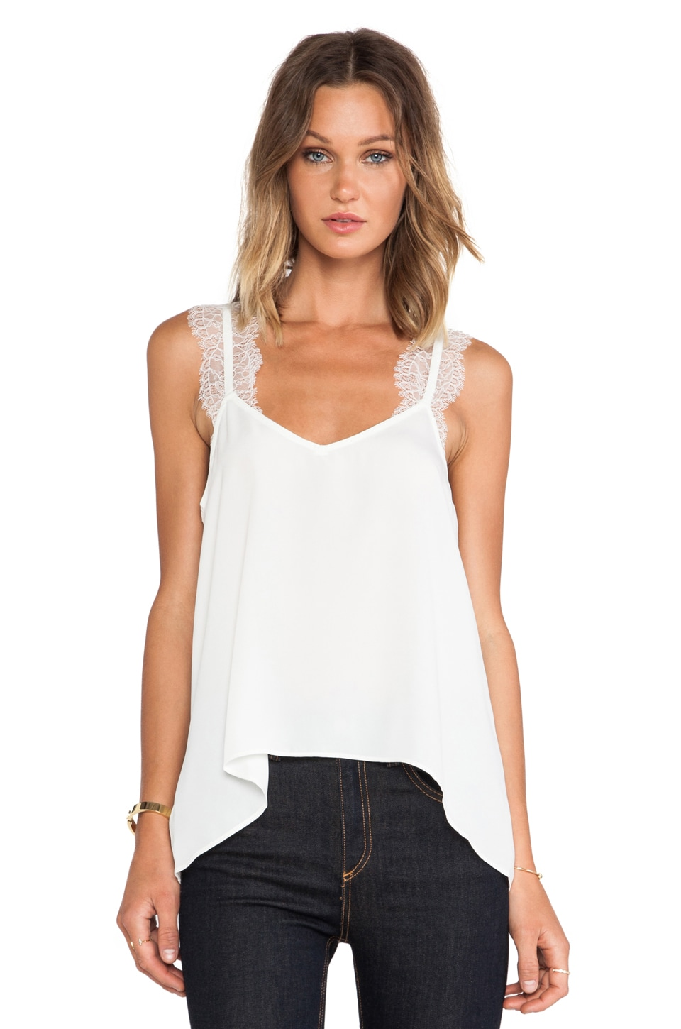 BCBGeneration Lace Trim Tank in Off White