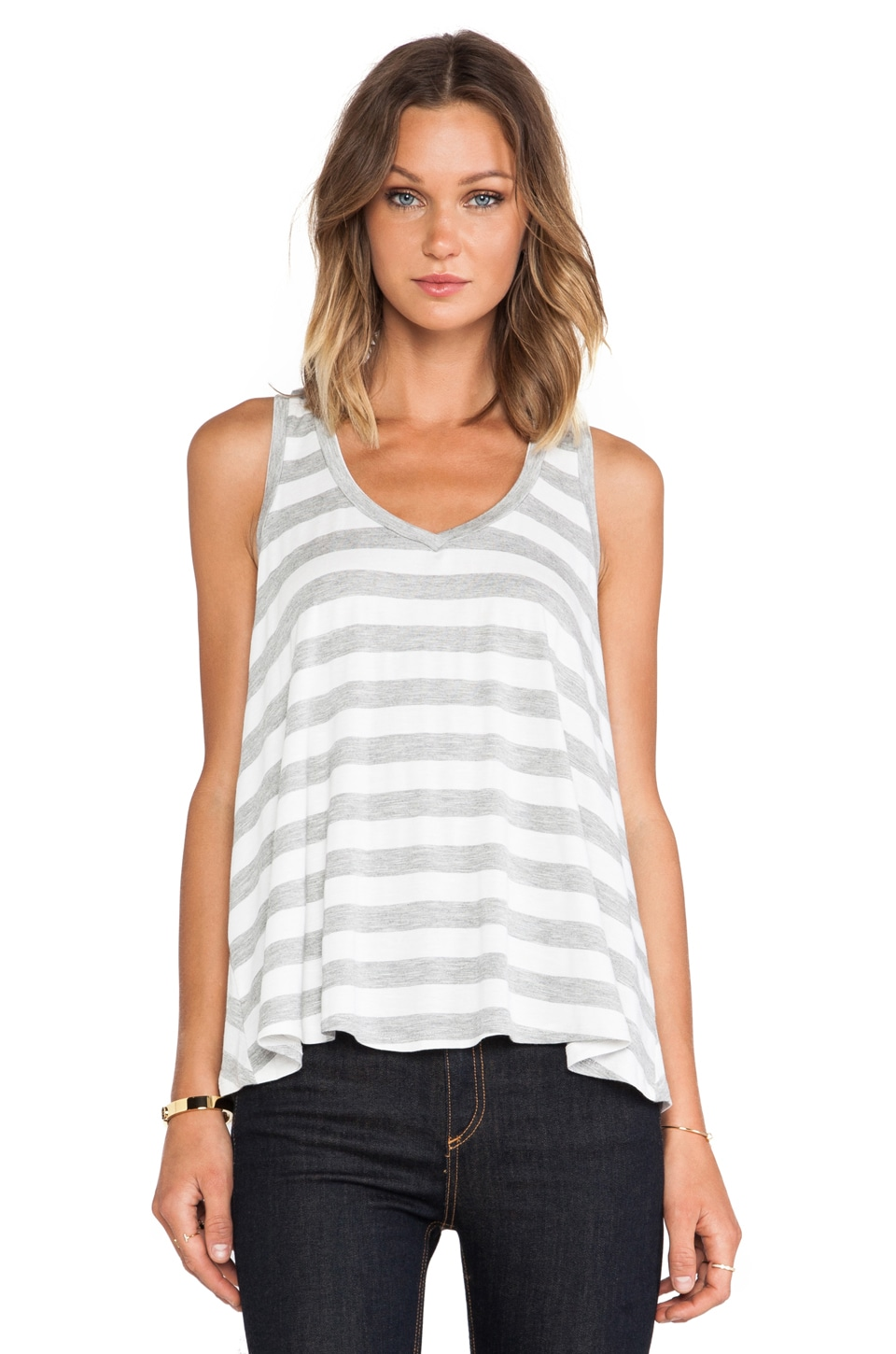 BCBGeneration Flowy Tank in White Stripe