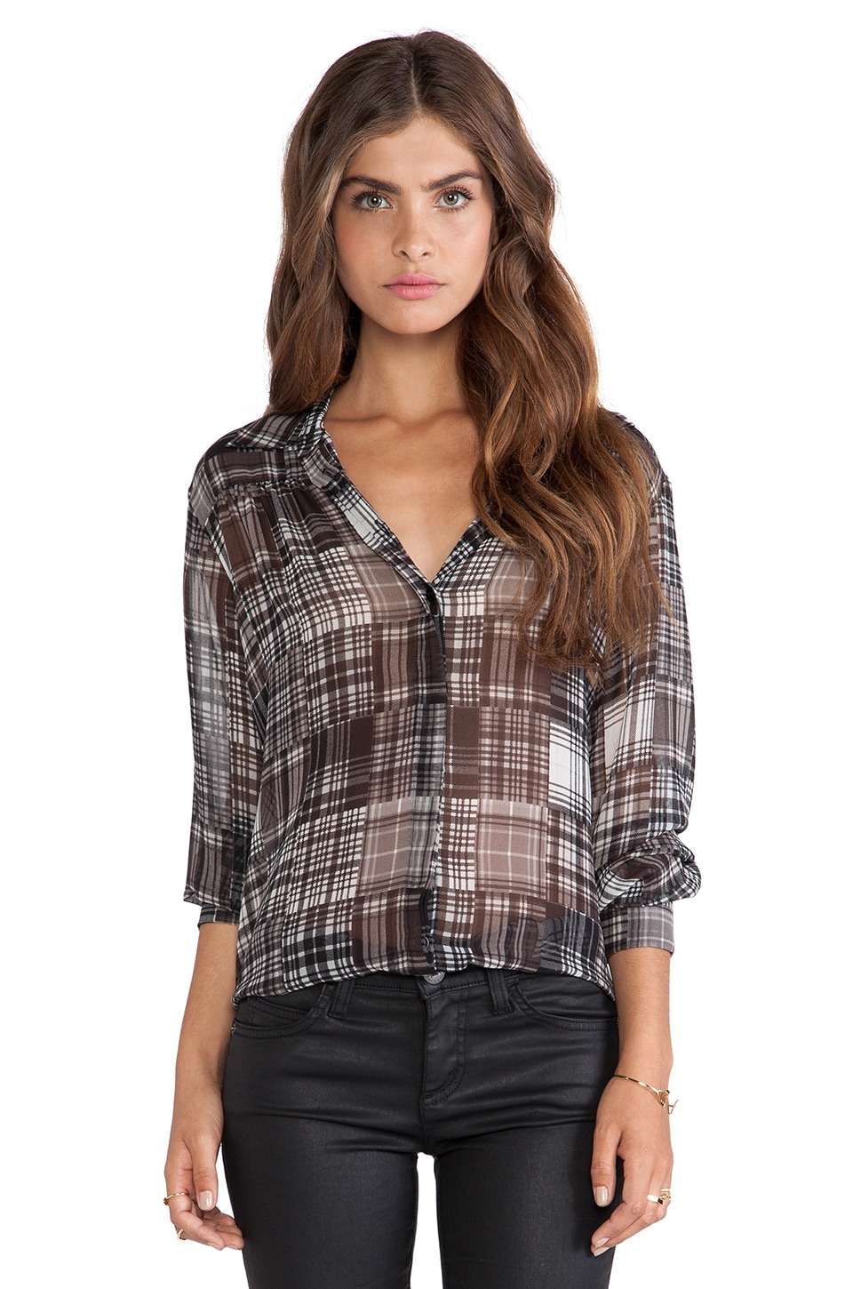 BCBGeneration Shirred Yoke Shirt in Black Multi