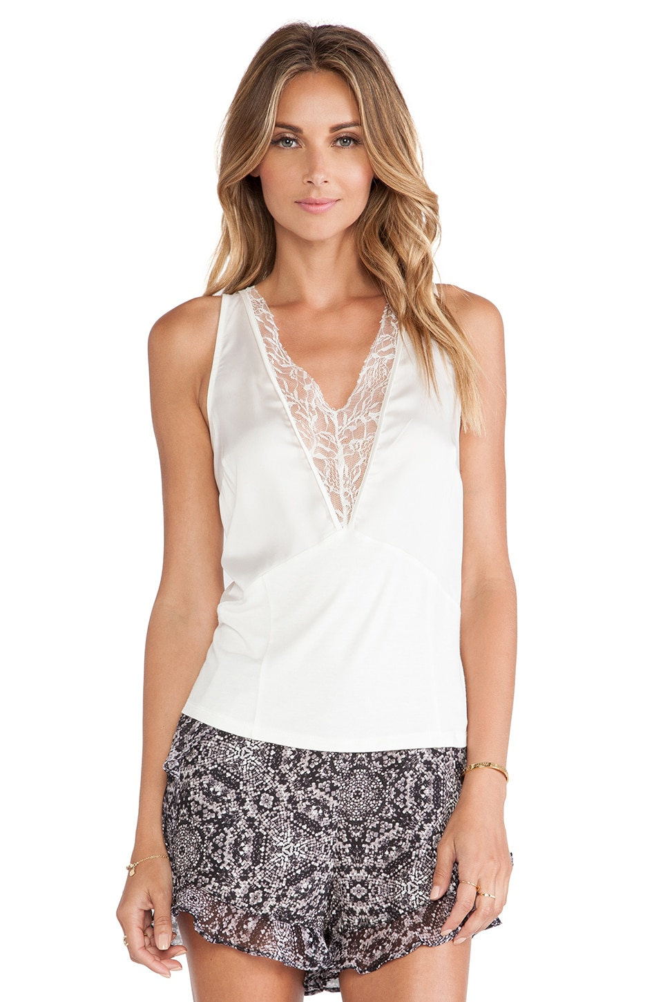 BCBGeneration Low V-Neck Top in Whisper White