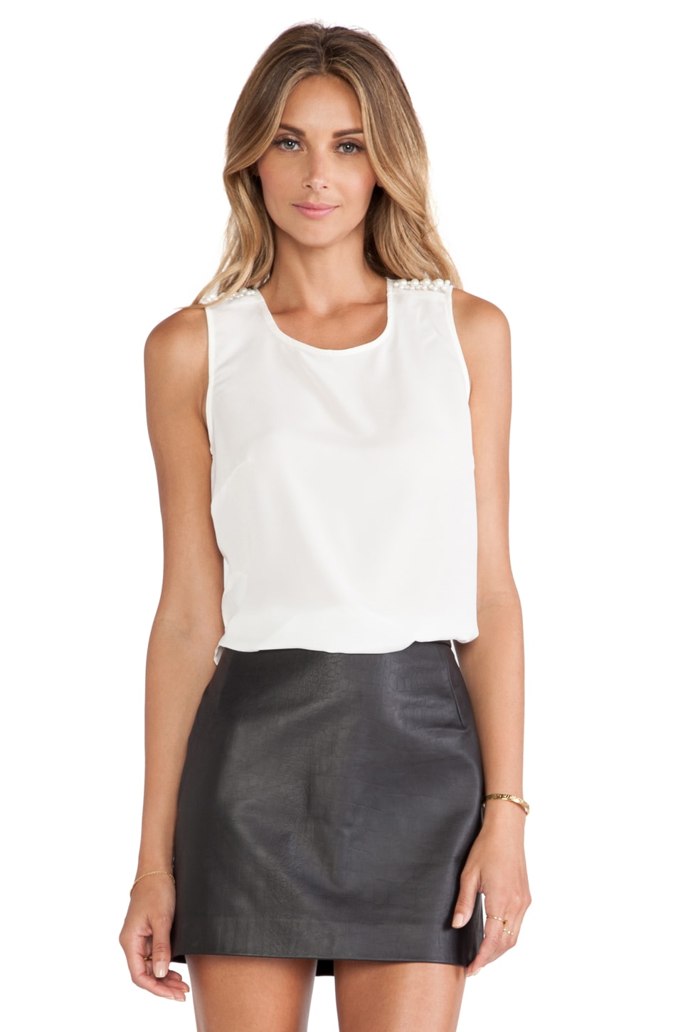 BCBGeneration Pearl Trim Top in Whisper White