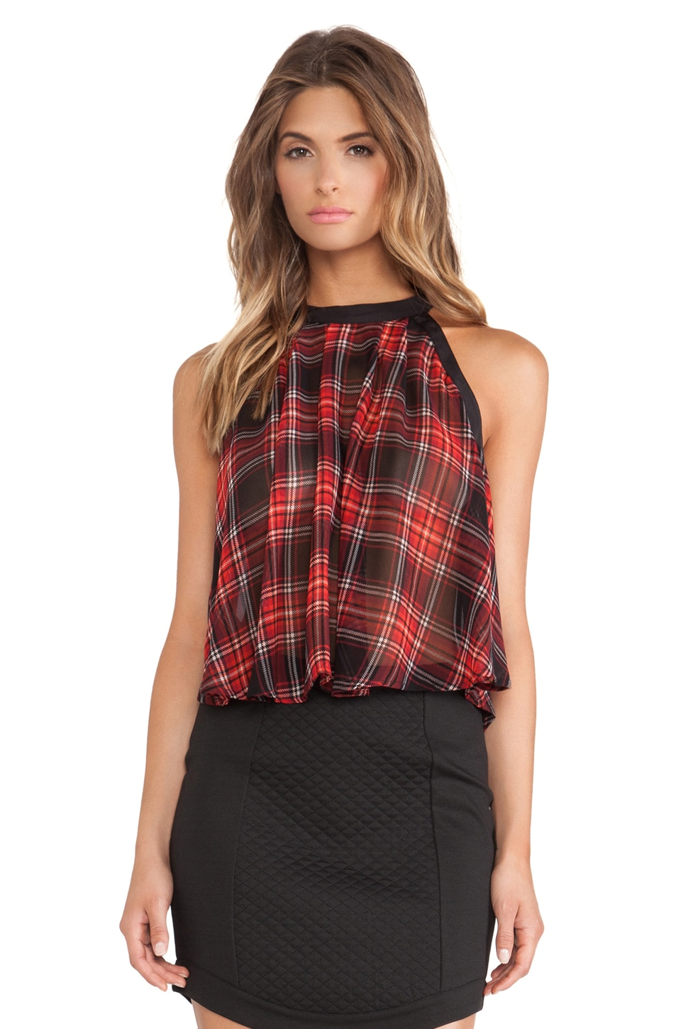 BCBGeneration High Low High Neck Tank in Bright Red Multi