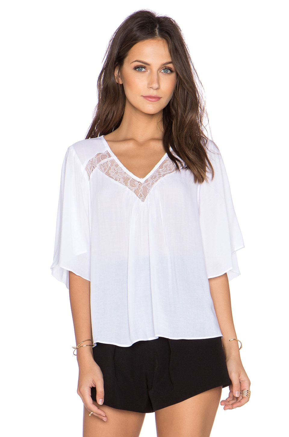 BCBGeneration Woven Top in Optic White