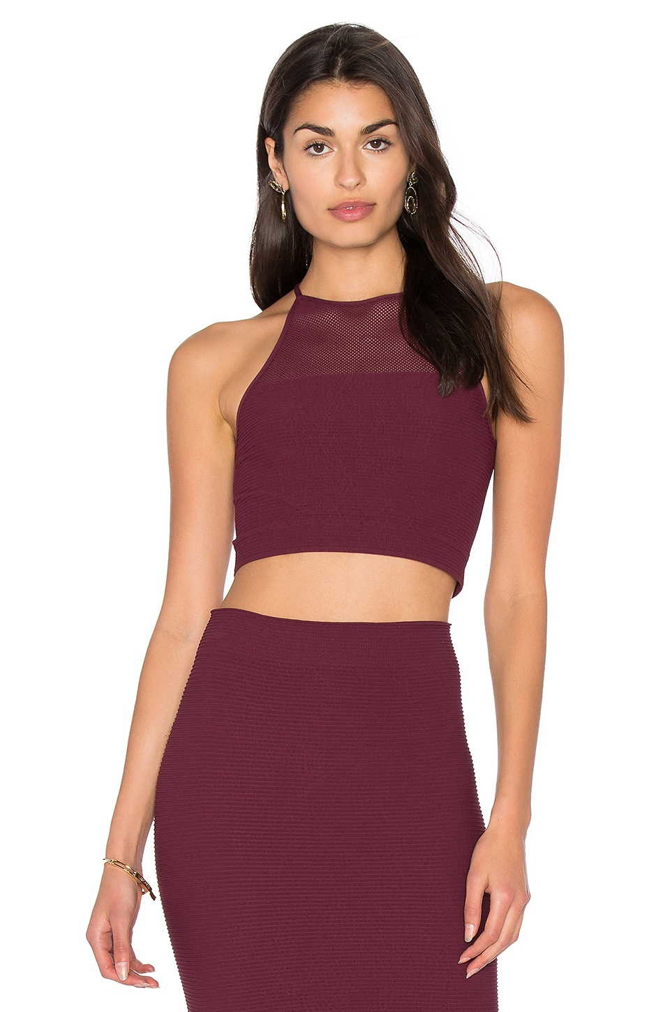 BCBGeneration Racer Back Crop Tank in Bordeaux