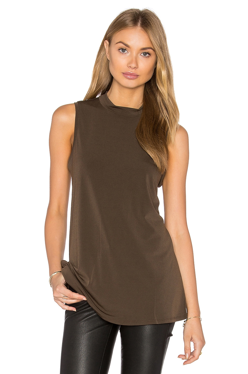 BCBGeneration Twist Back Tank in Coffeebean