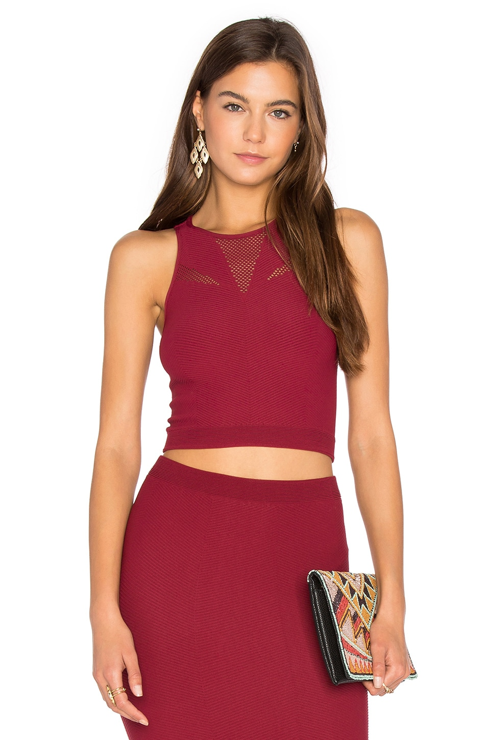 BCBGeneration Mesh Crop Tank in Dark Rouge