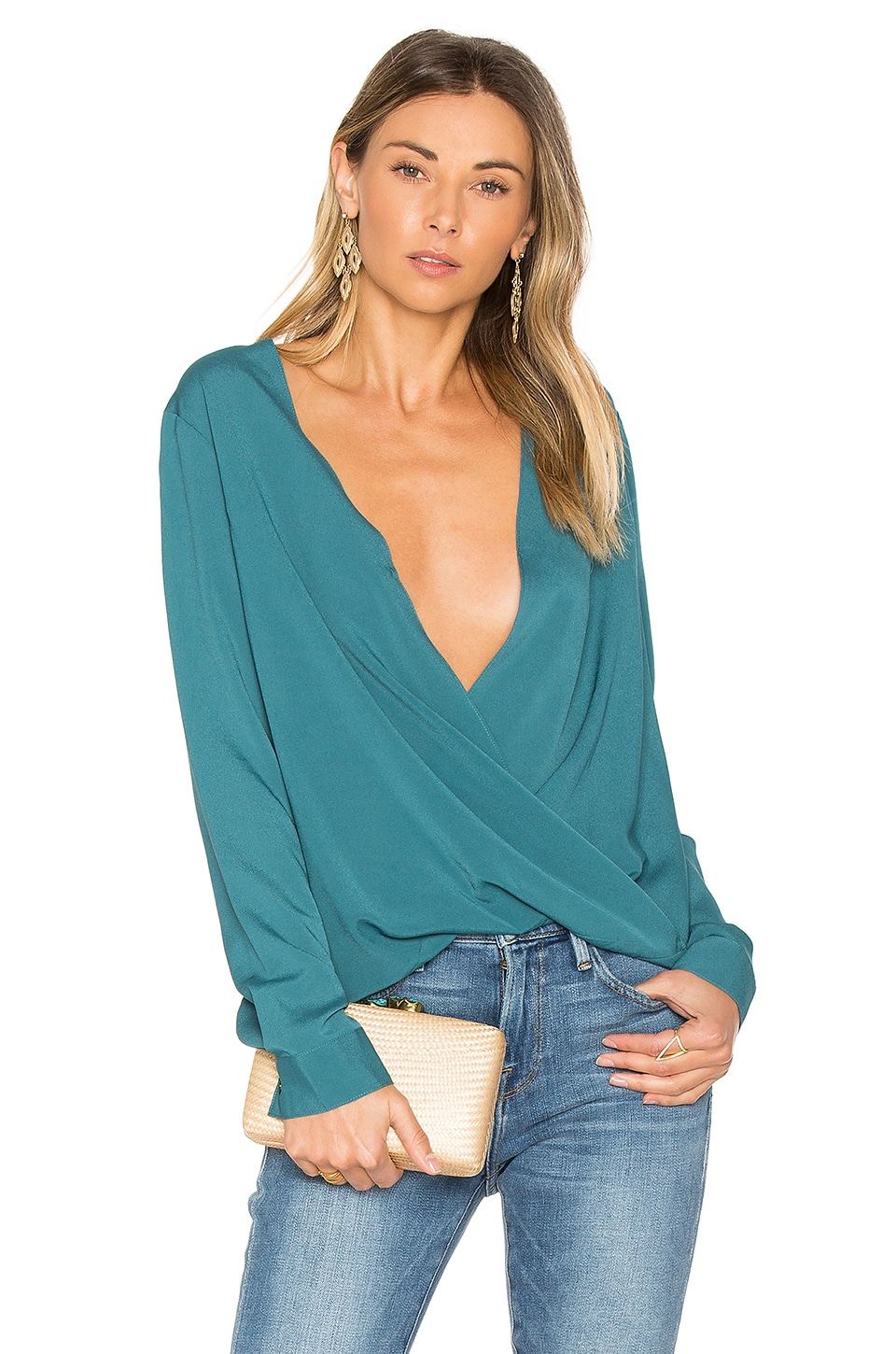 BCBGeneration Criss Cross Blouse in Cerulean