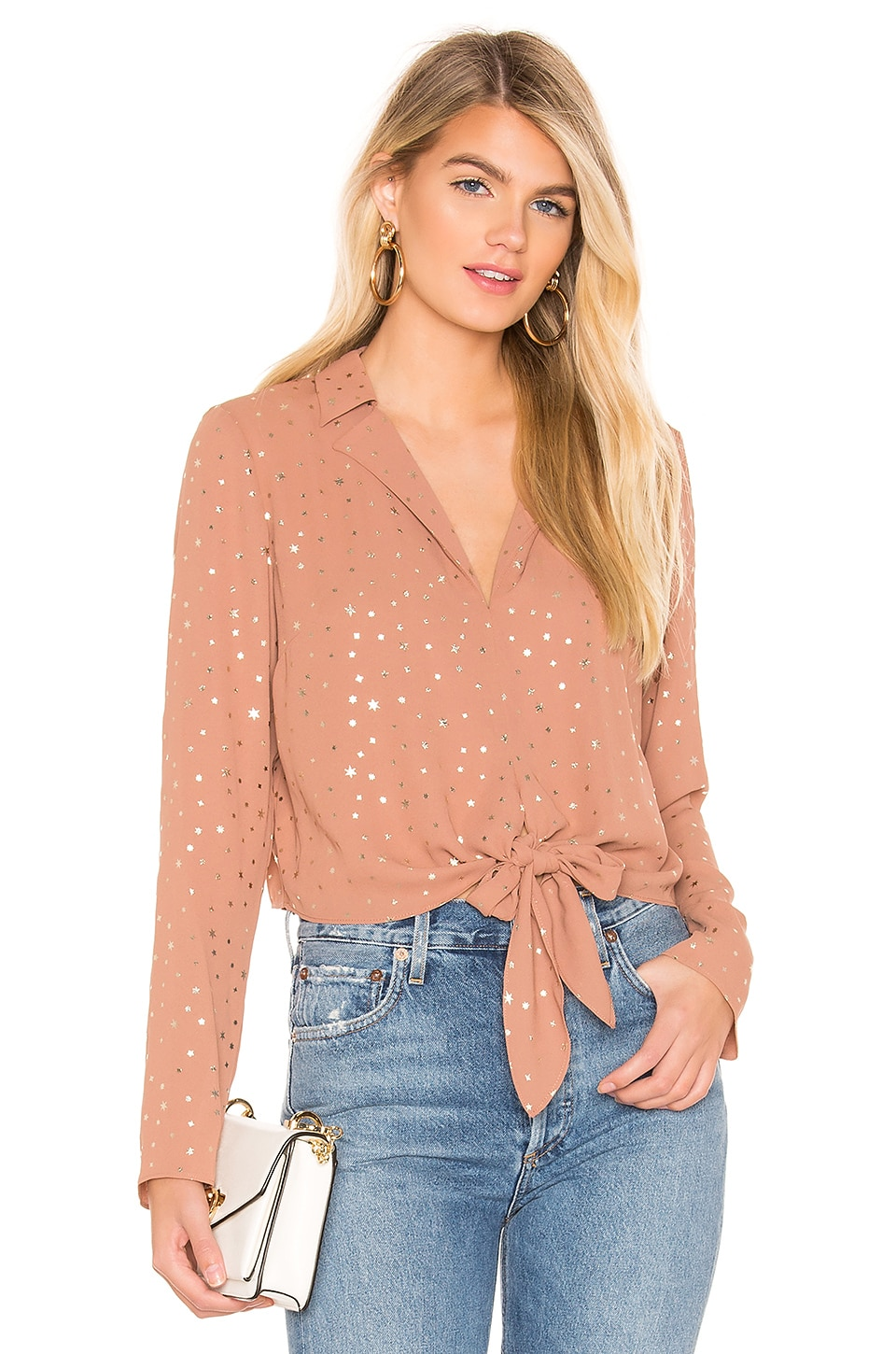 d7adf9810324b1 Bcbgeneration Metallic Star Tie-Front Blouse In Dusty Pink | ModeSens