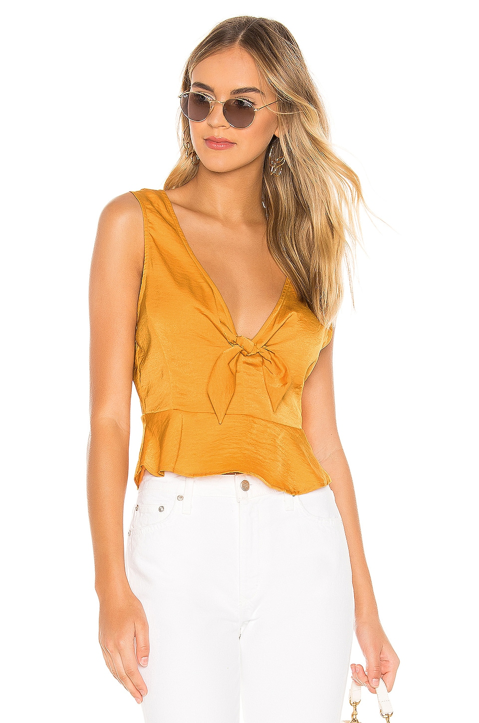 BCBGeneration Knot Front Top in Goldenrod
