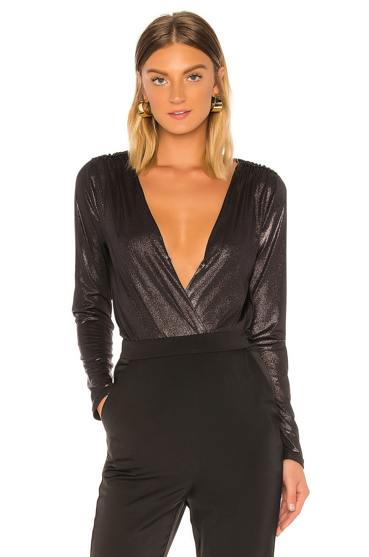 BCBGeneration Surplice Bodysuit in Black