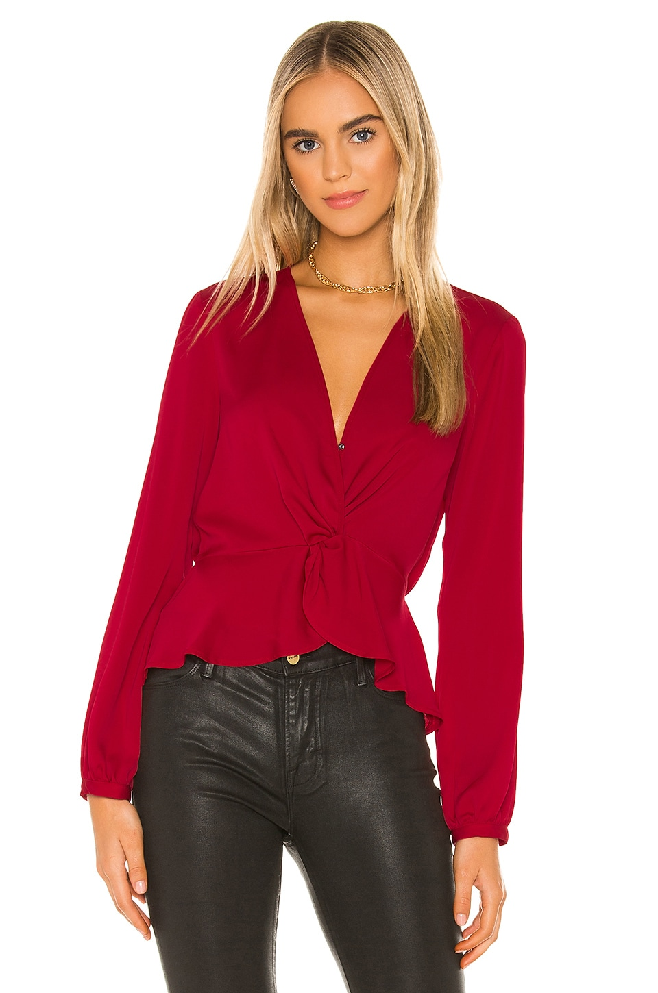 BCBGeneration Twist Front Blouse in Ruby Red