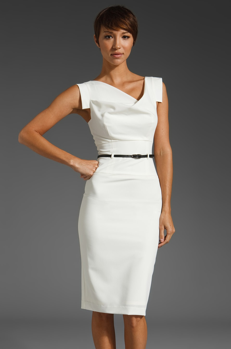 Black Halo Classic Jackie O Dress in White