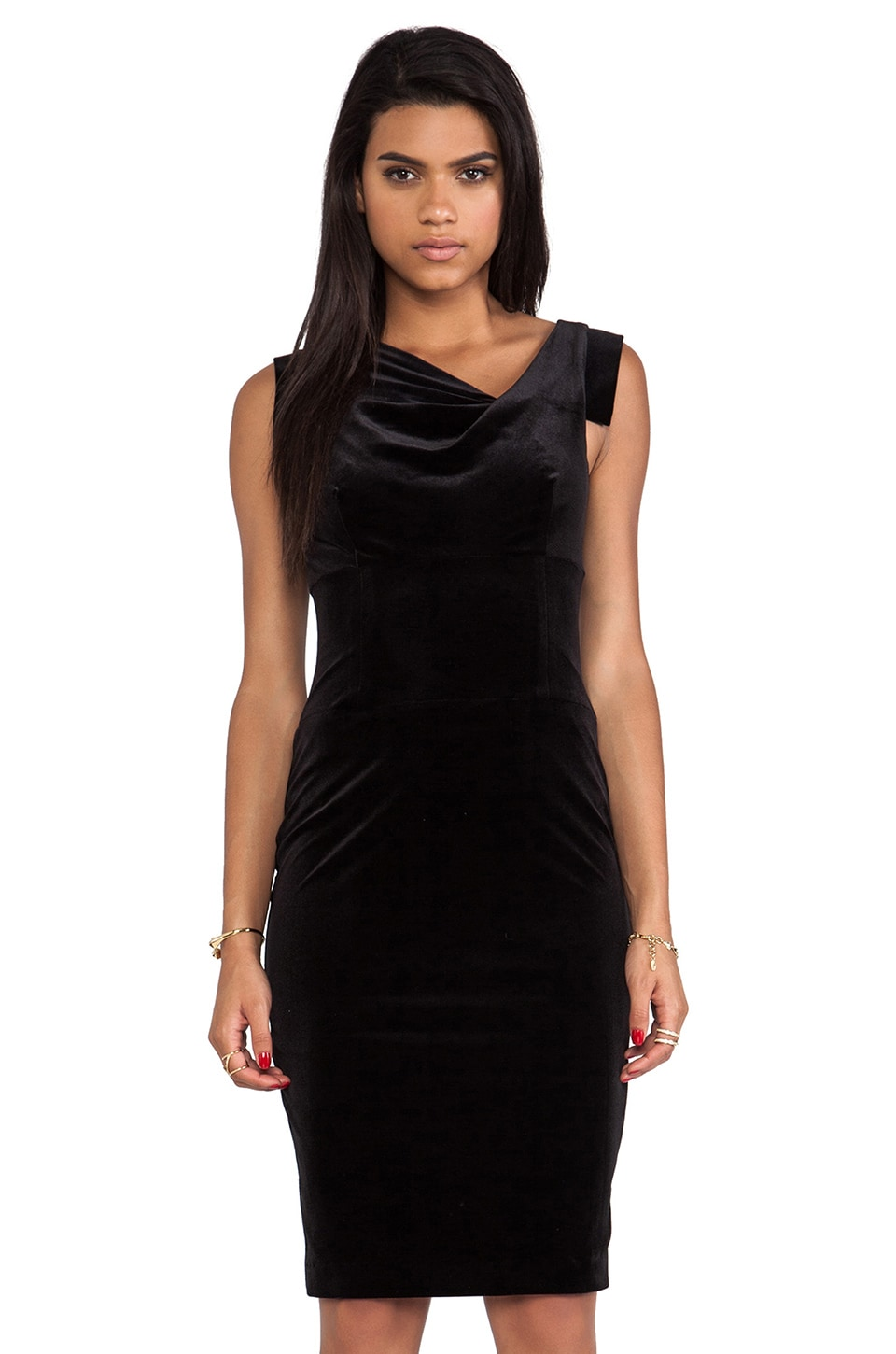 Black Halo Jackie O Dress in Black Velvet