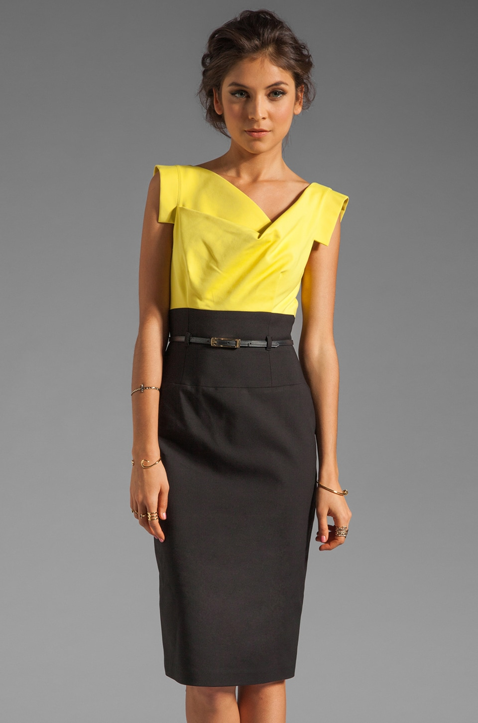 Black Halo Jackie O Two Tone Dress in Limonata/Black