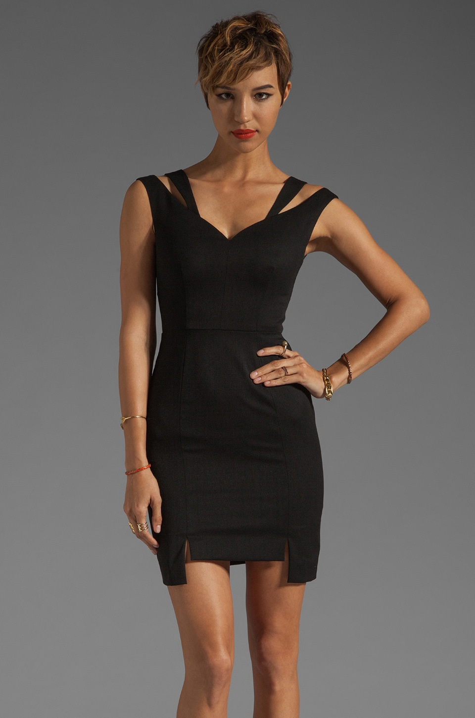 Black Halo Analisa Mini Dress in Black