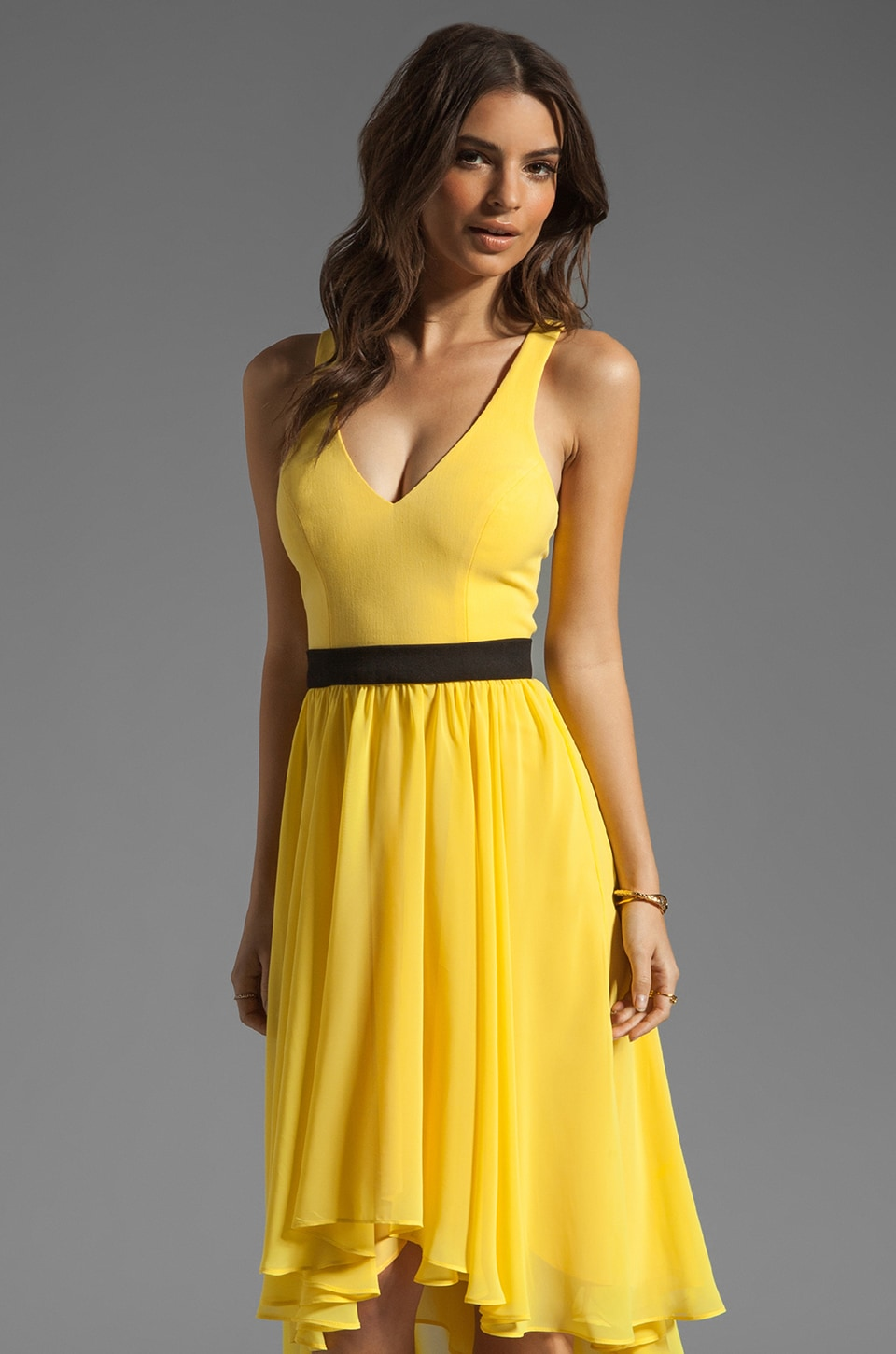 Black Halo Francis Dress in Sunflower and Black