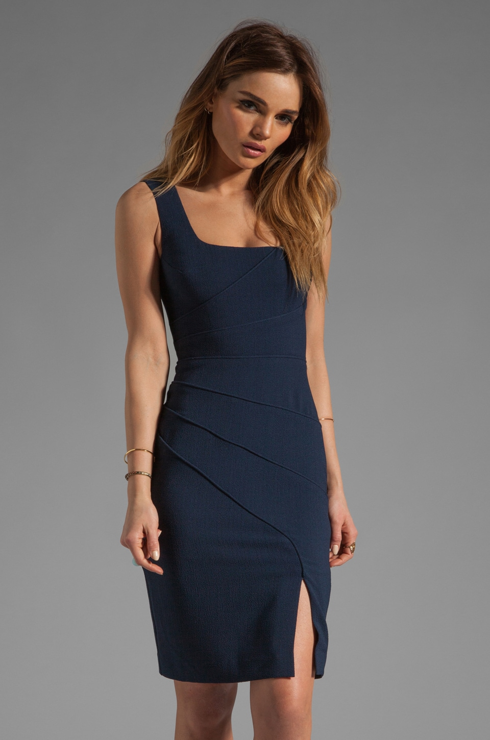 Black Halo Isabella Pebble Crepe Dress in Bluestone