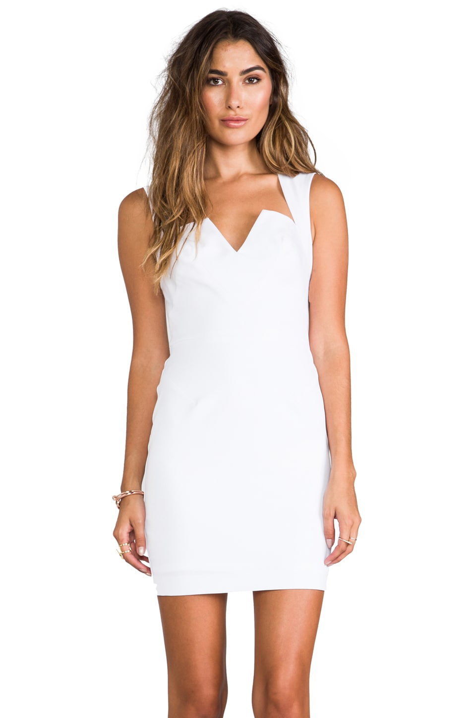 Black Halo Laurence Stretch Gabardine Mini Dress in White