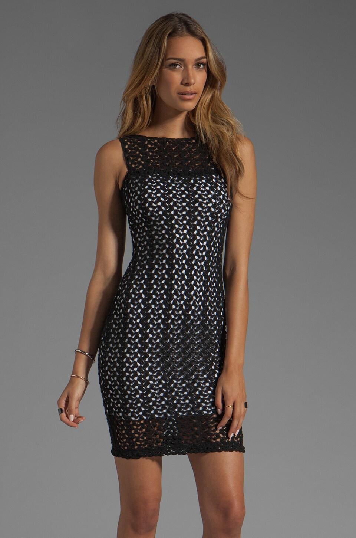 Black Halo Marianne Crochet Lace Sheath Dress in Black/White