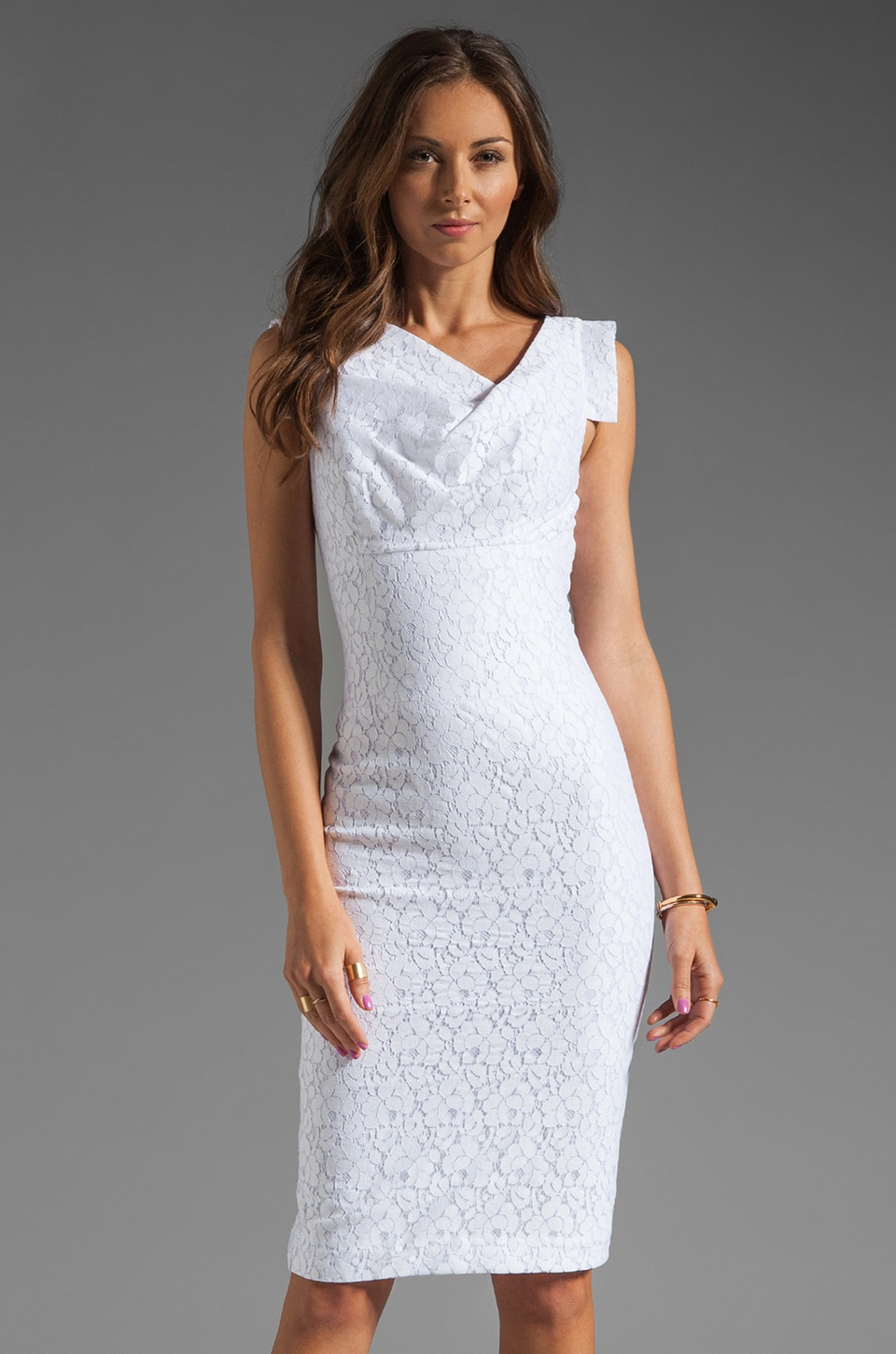 Black Halo Jackie-O Raschel Lace Dress in White Lace