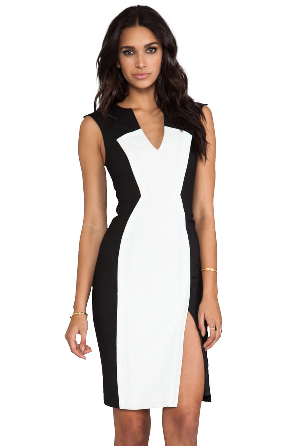 Black Halo Heston Colorblocked Dress in Eggshell/Black