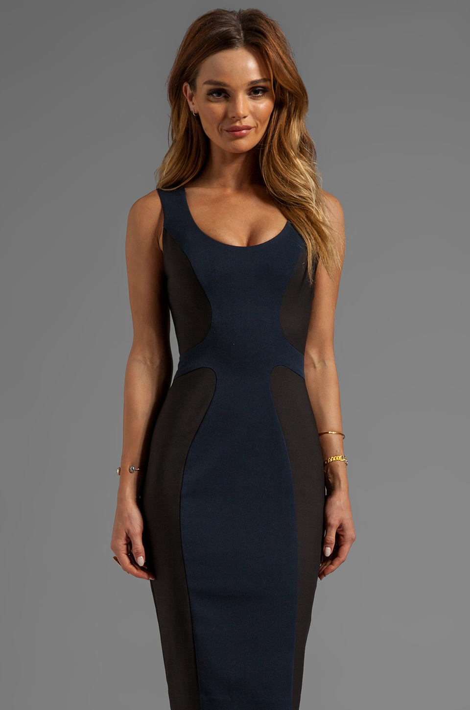 Black Halo Annabelle Dress in Blueberry/Black