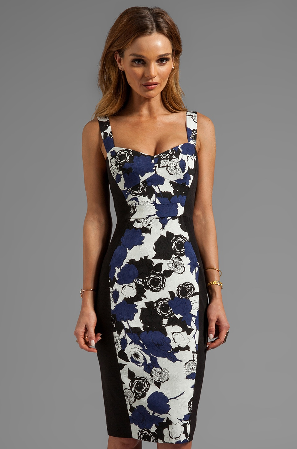 Black Halo Sadie Colorblocked Sheath Dress en Print Black