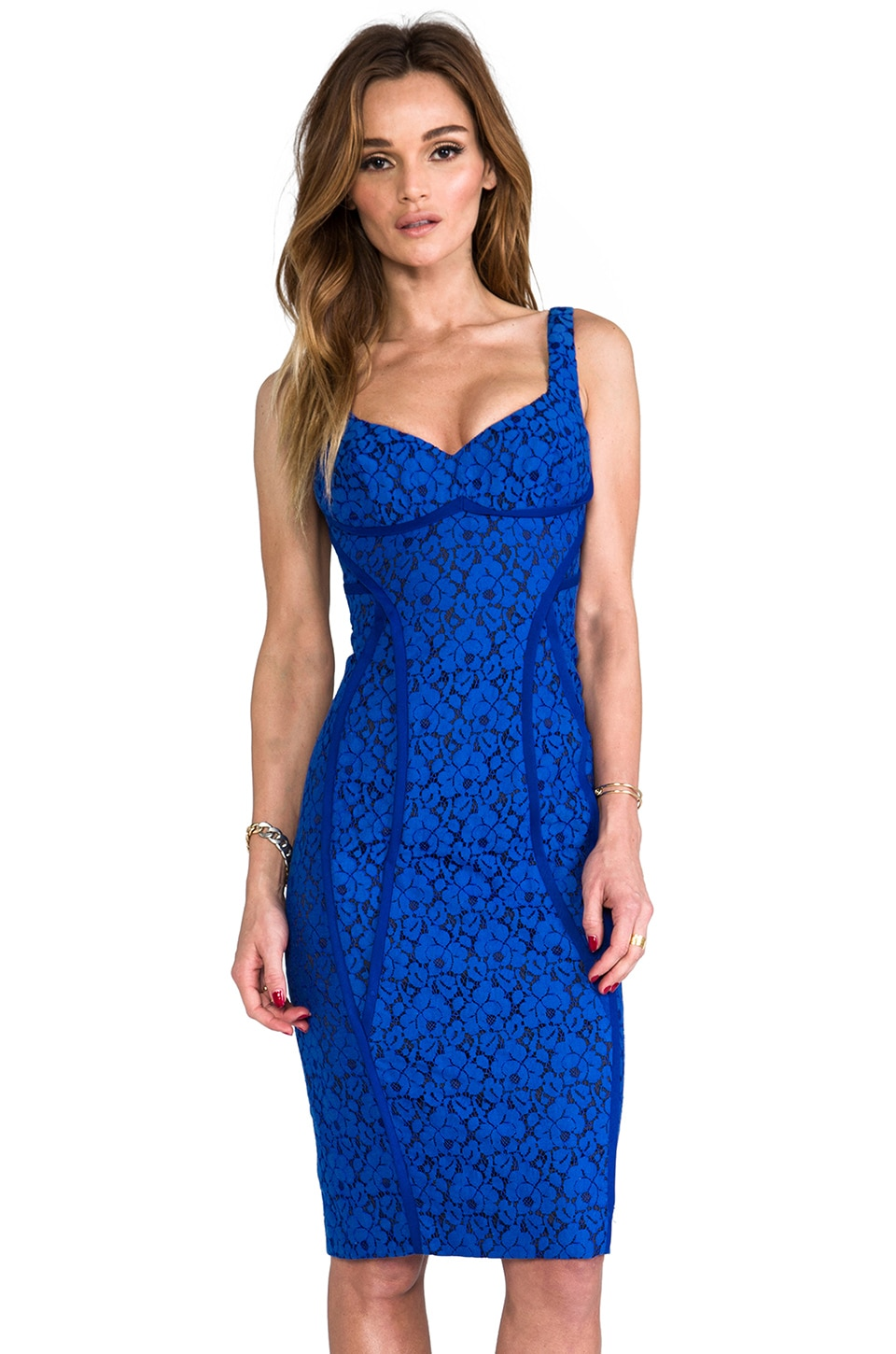 Black Halo Erik Sheath Dress in Lapis/Black