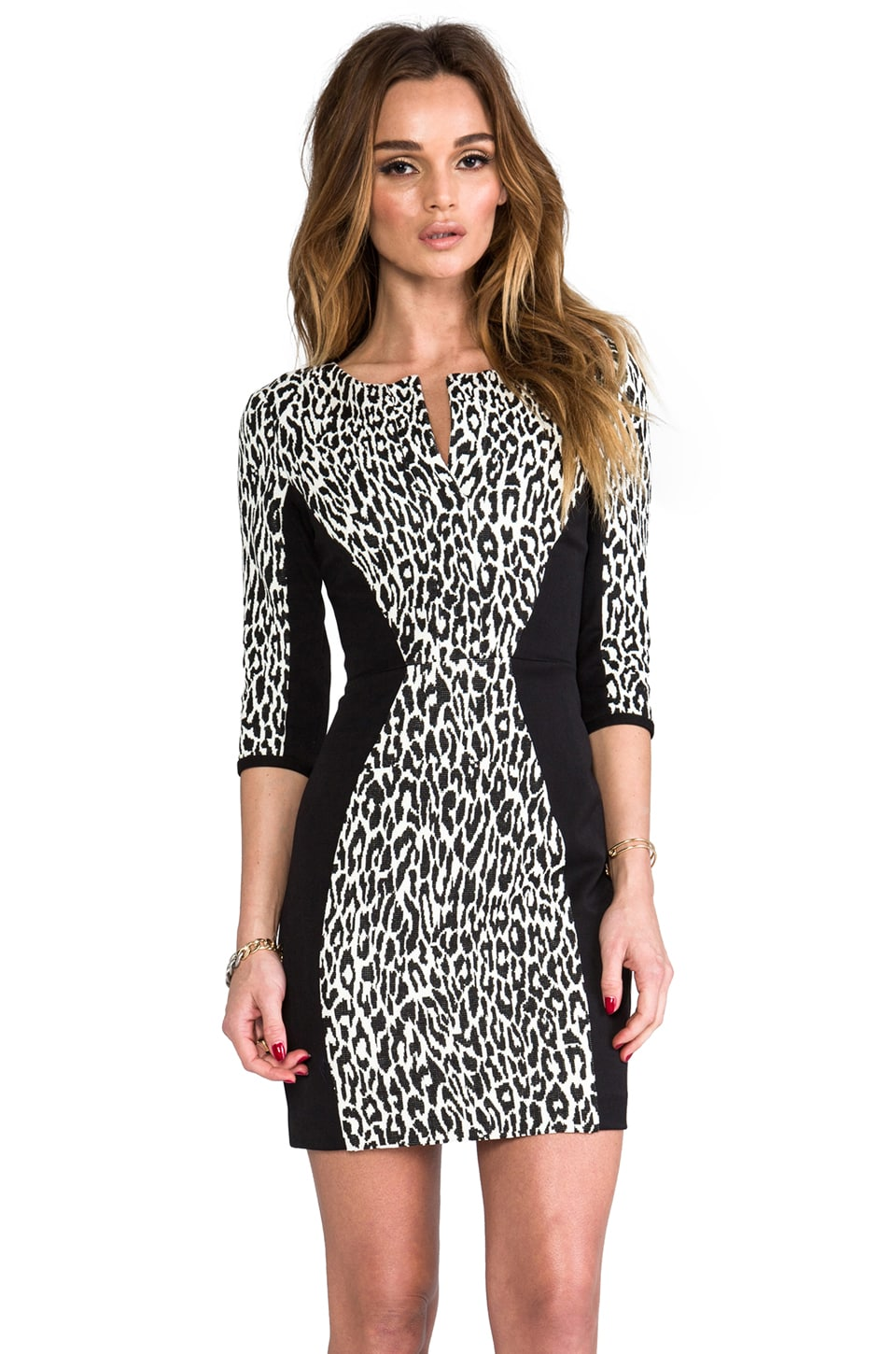 Black Halo Terri Mini Dress in Snow Leopard/Black