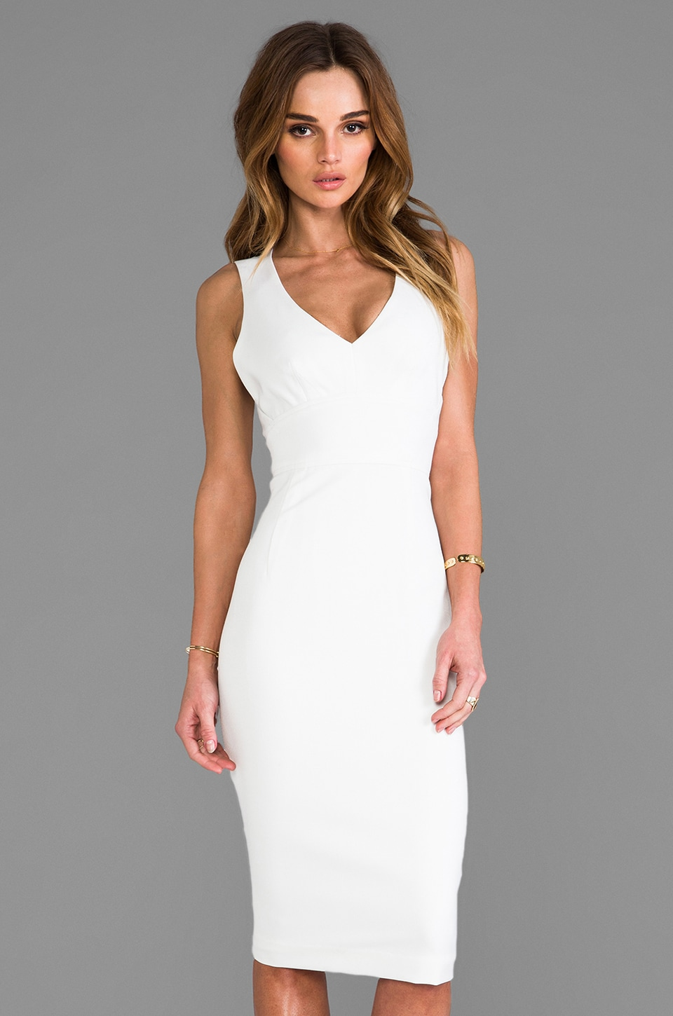Black Halo Vera Sheath in Winter White