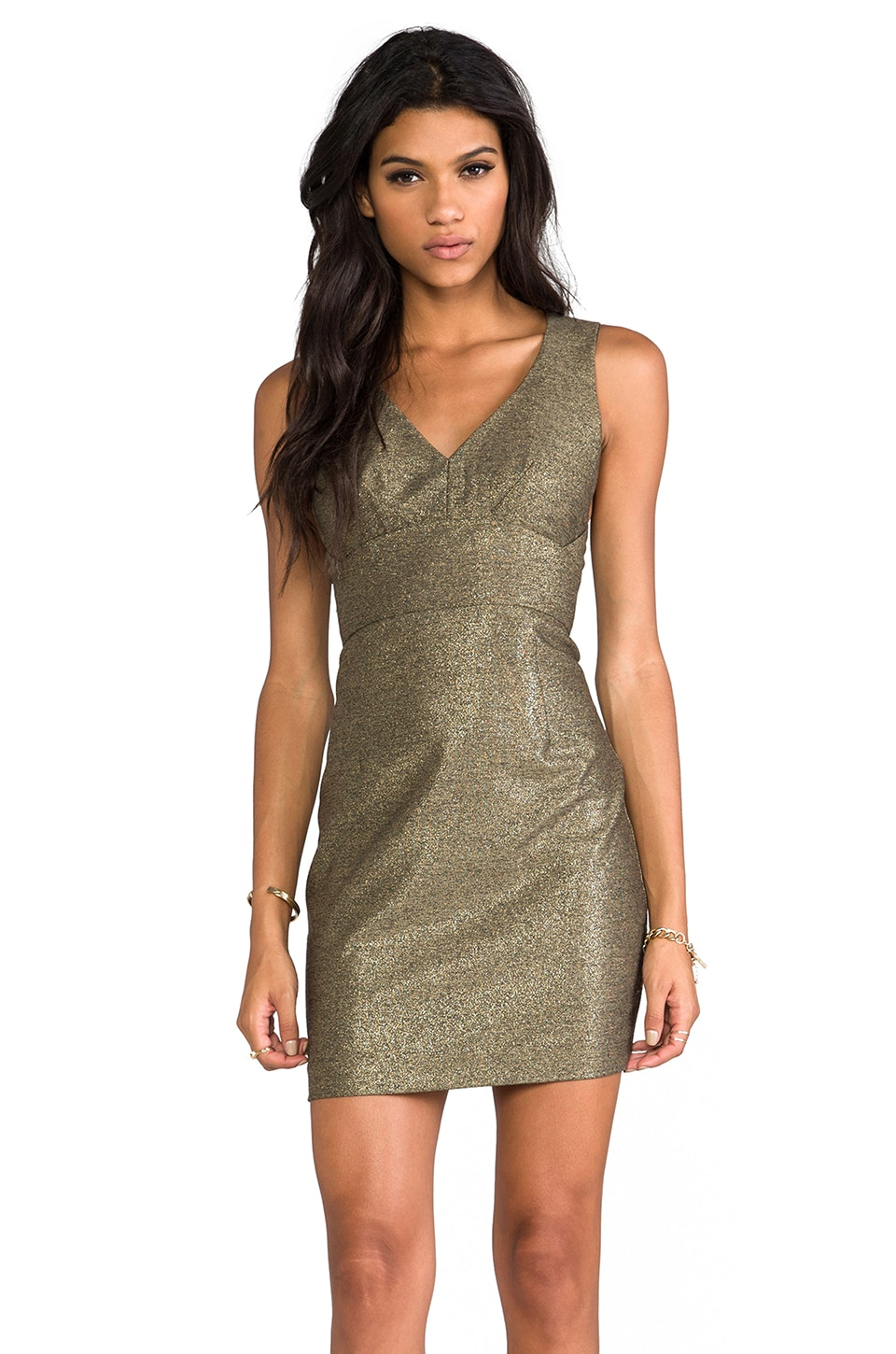 Black Halo Vera Mini Dress in Burnished Gold