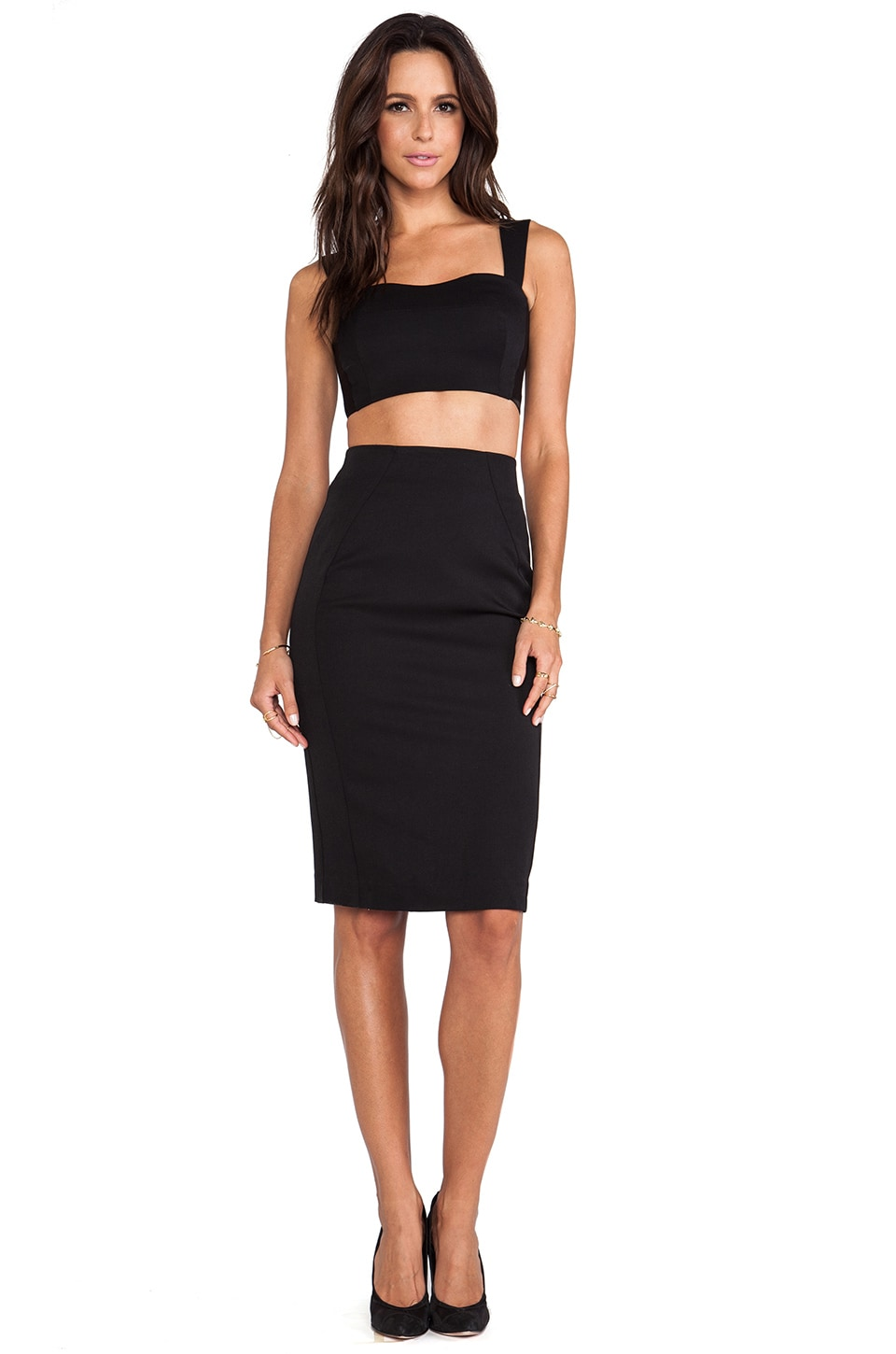 Black Halo Kayley 2 Piece Dress in Black