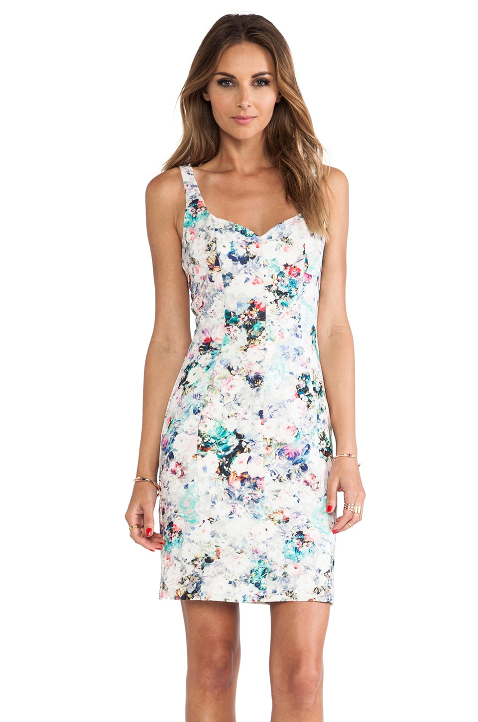 Black Halo Jace Sheath Mini Dress in Vintage Floral Print
