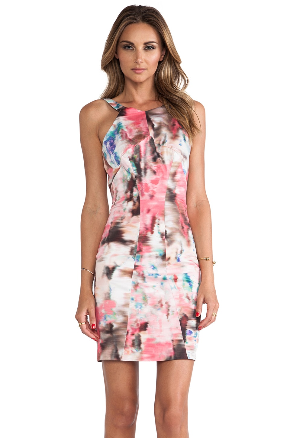 Black Halo Karmen Sheath Mini Dress in Decadence Print