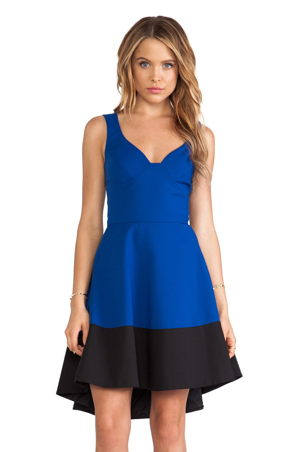 Black Halo Reese Dress in Dragonfly Blue & Black