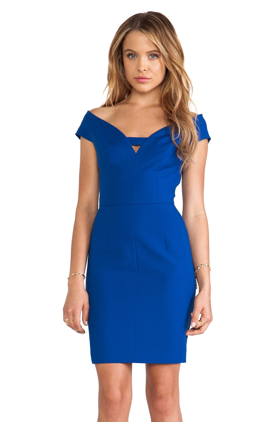Black Halo Riya Mini Sheath Dress in Dragonfly Blue