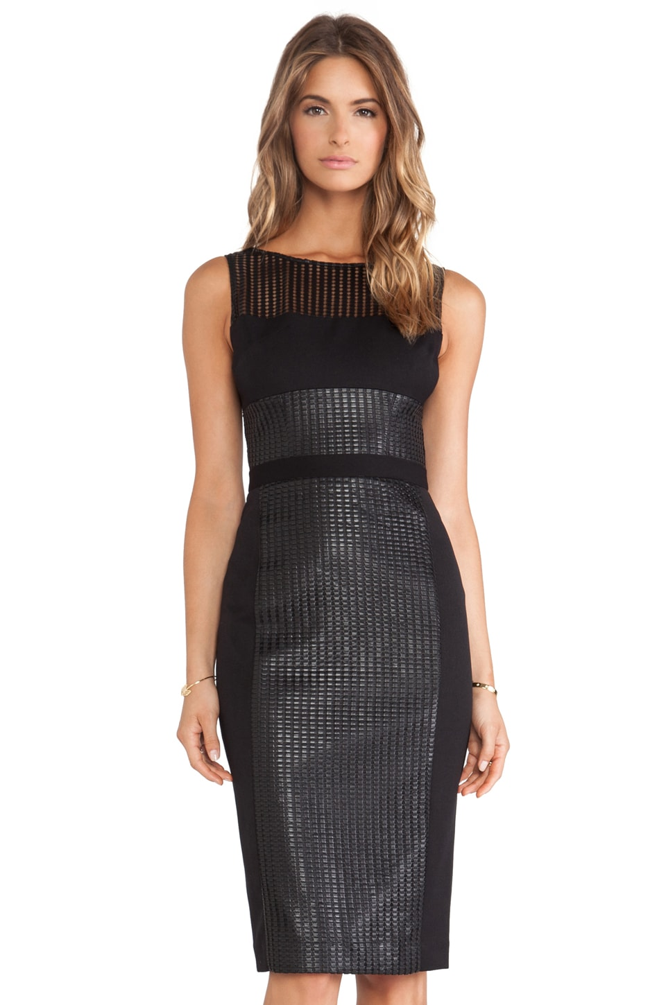 Black Halo Wyatt Colorblocked Sheath Dress in Black