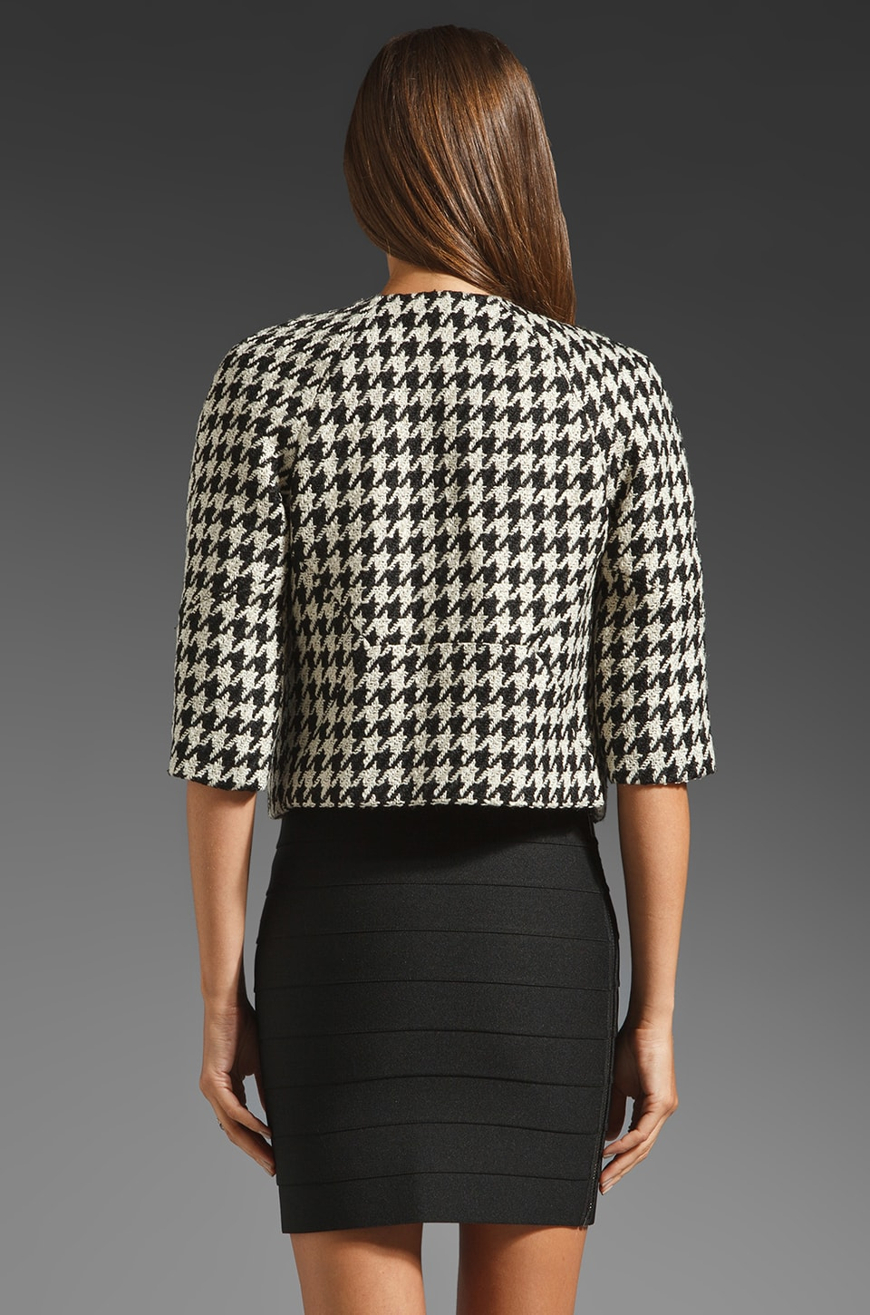 Black Halo Piccoli Crop Jacket Houndstooth in Black/White