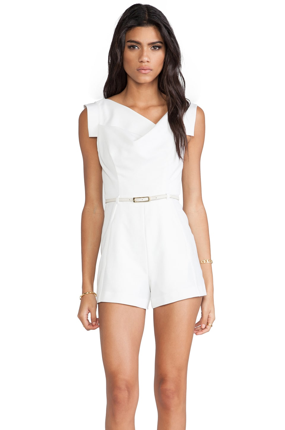 Black Halo Jackie Romper in Winter White