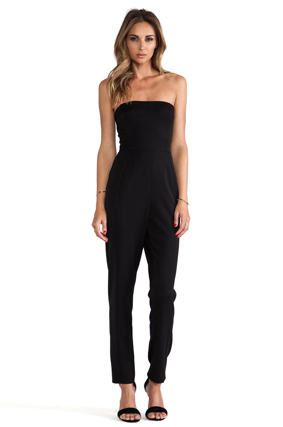 Black Halo Iris Strapless Jumpsuit in Black
