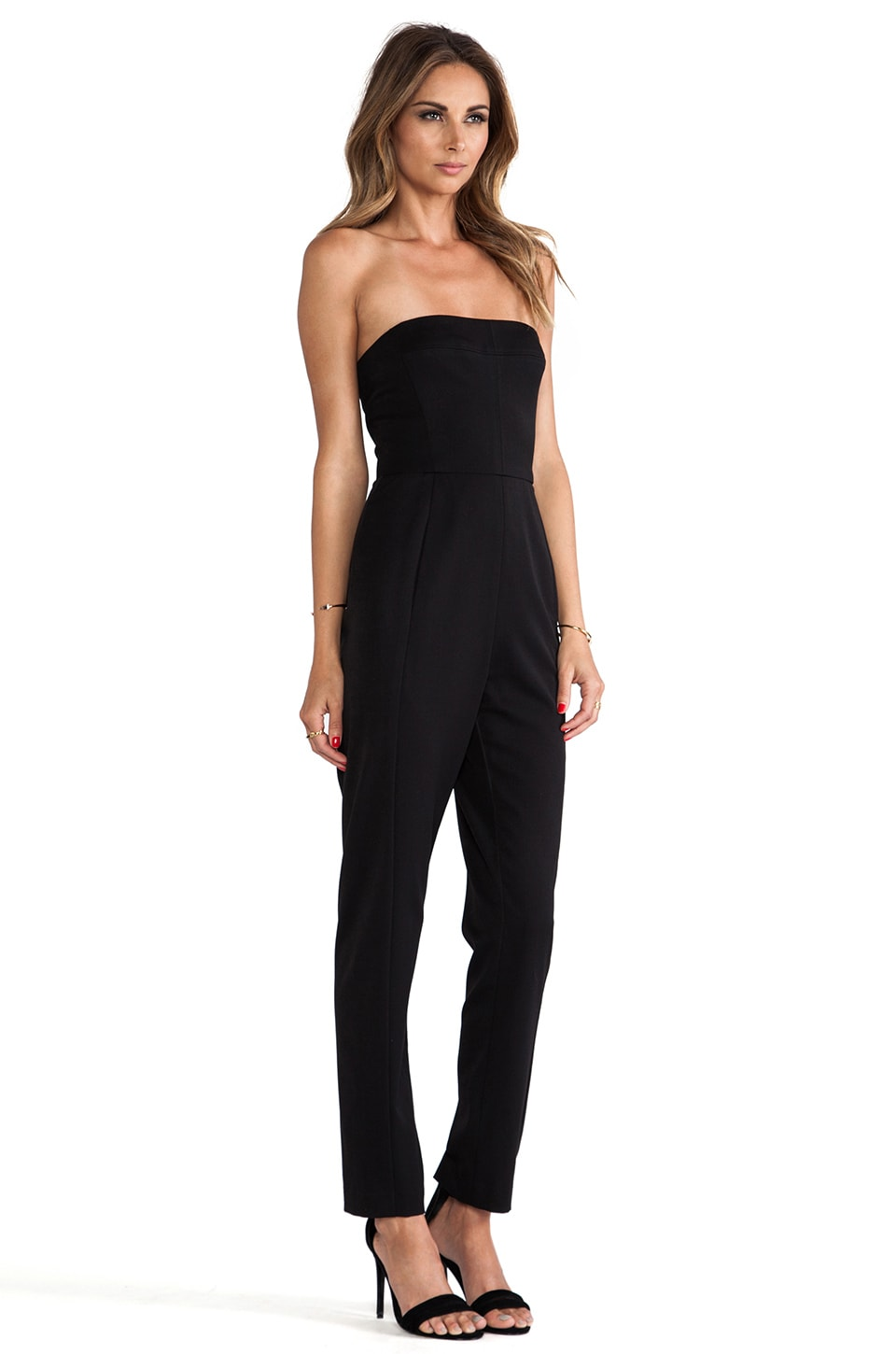 Black Halo Iris Strapless Jumpsuit in Black | REVOLVE