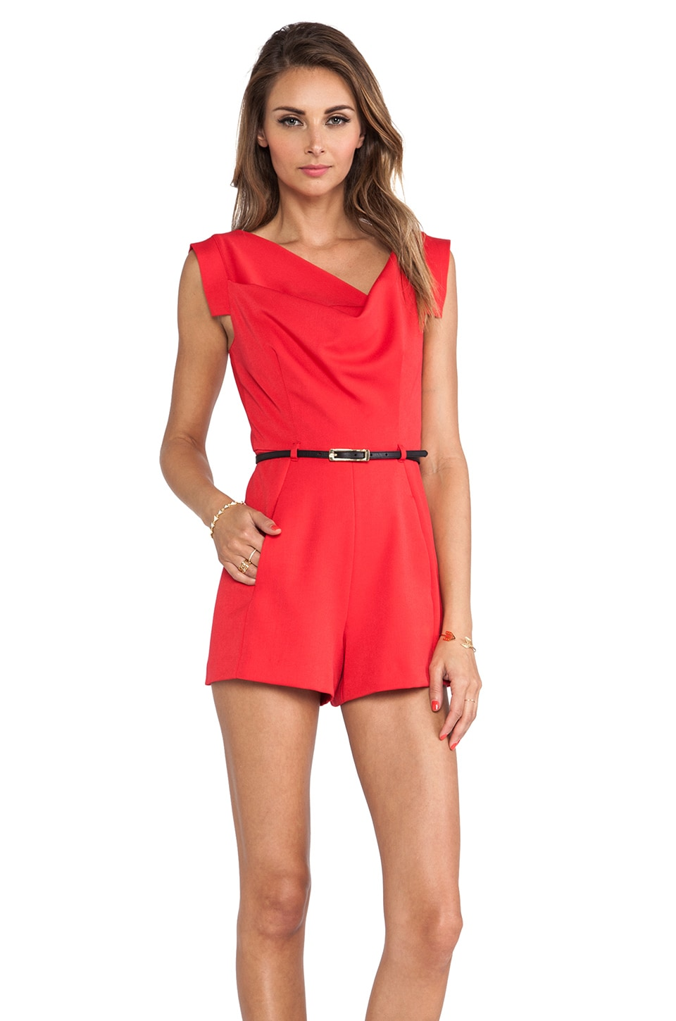 Black Halo X REVOLVE Jackie O Romper in Hibiscus Red