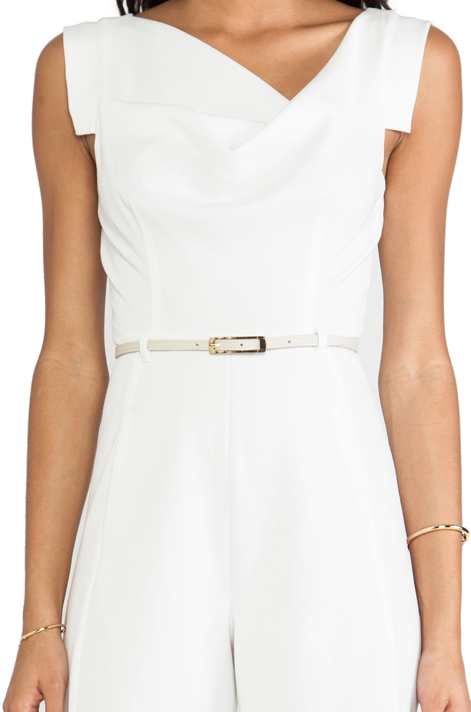 Black Halo Jackie Jumpsuit in Winter White