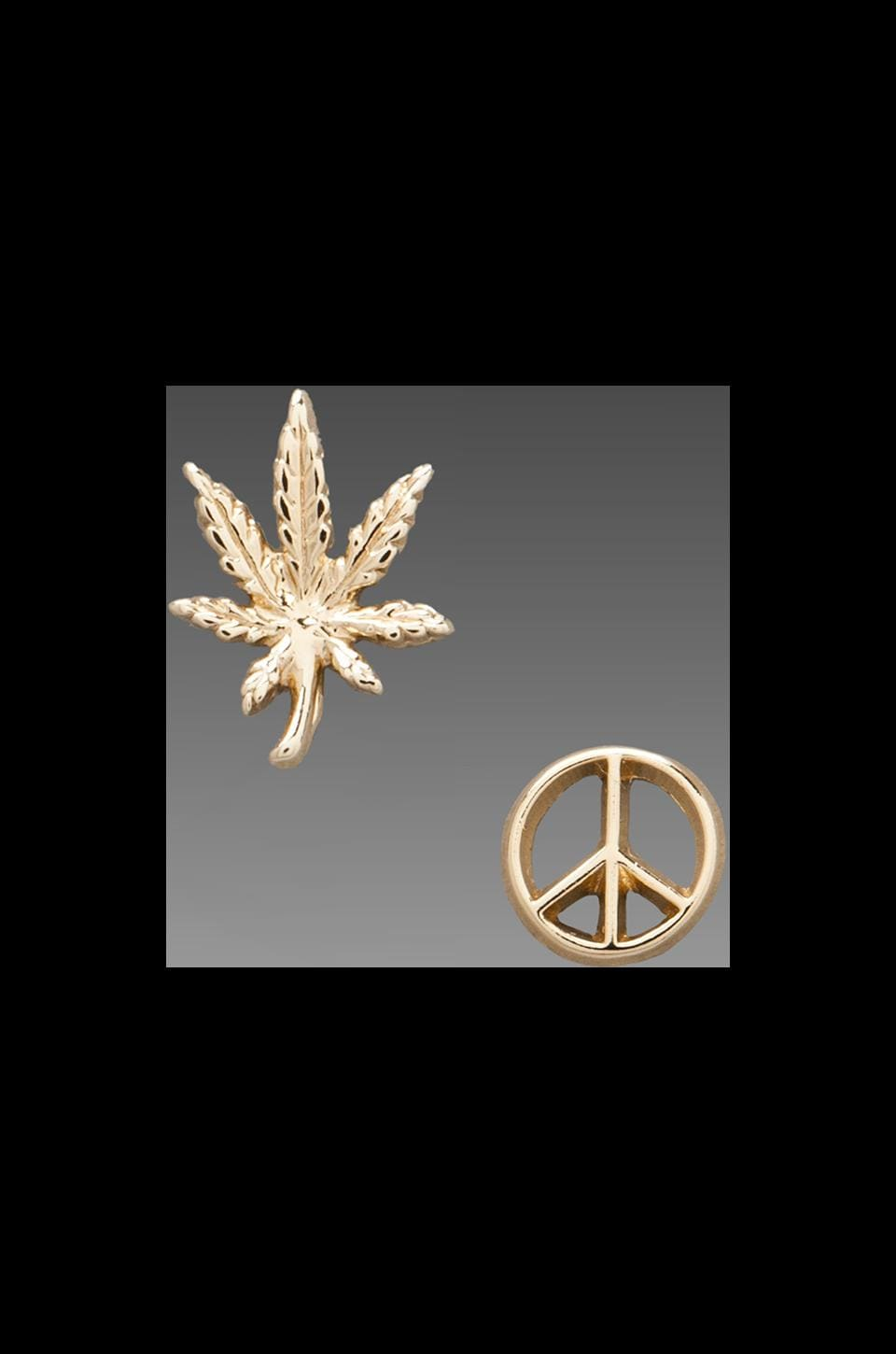 Bing Bang Give Peace a Chance Duet Stud in Yellow Gold