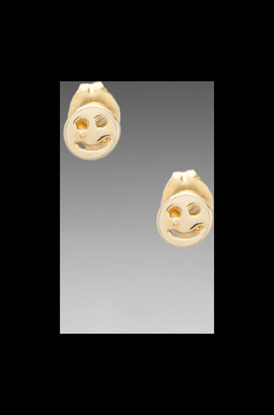 Bing Bang Smiley Face Studs in Yellow Gold