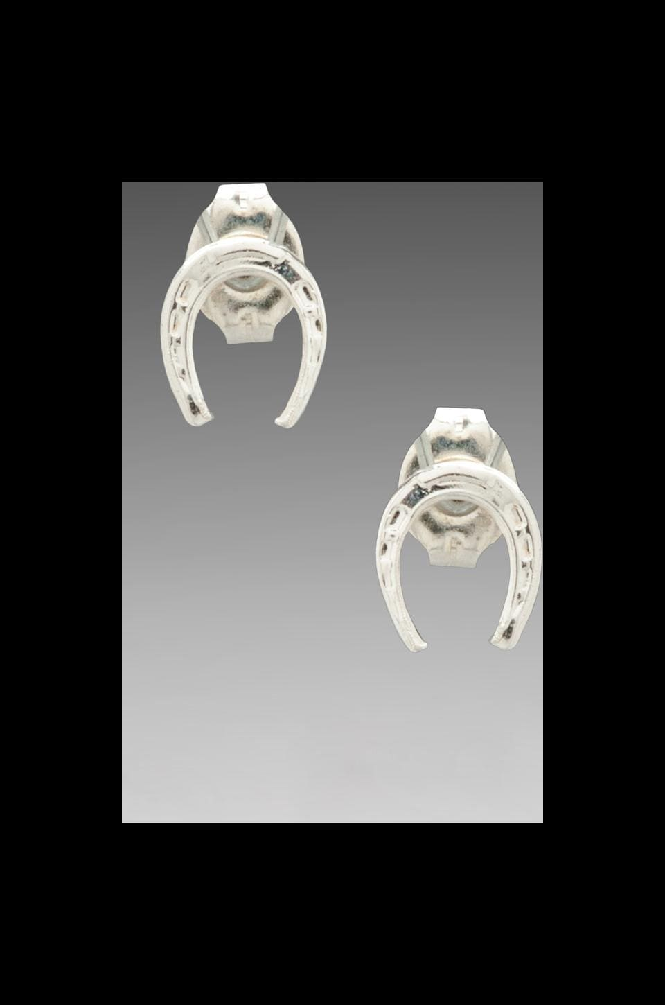 Bing Bang Tiny Horse Shoe Studs in Silver