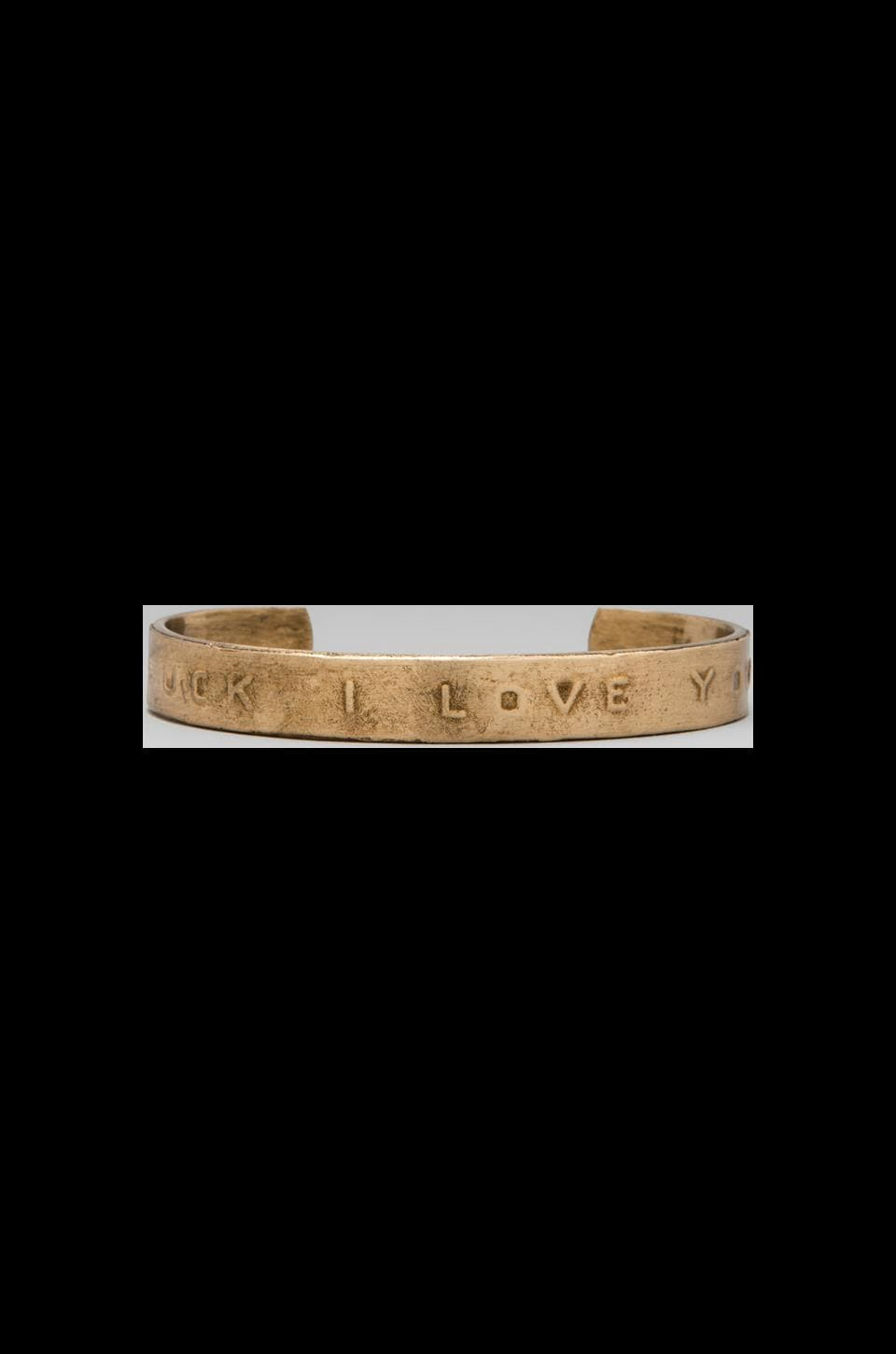 Bing Bang Fuck I Love You Cuff in Brass