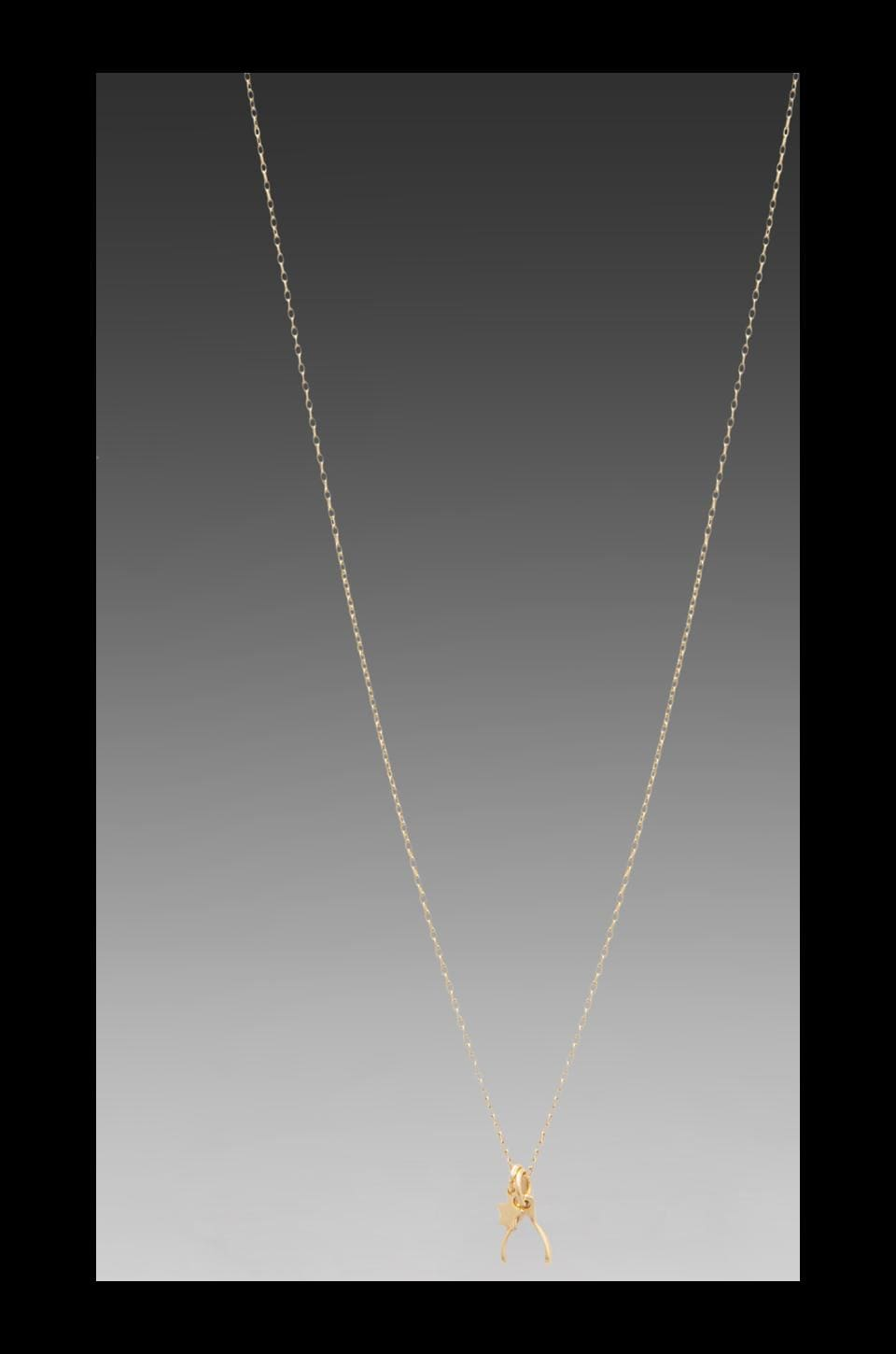 Bing Bang Wishbone Necklace in Yellow Gold