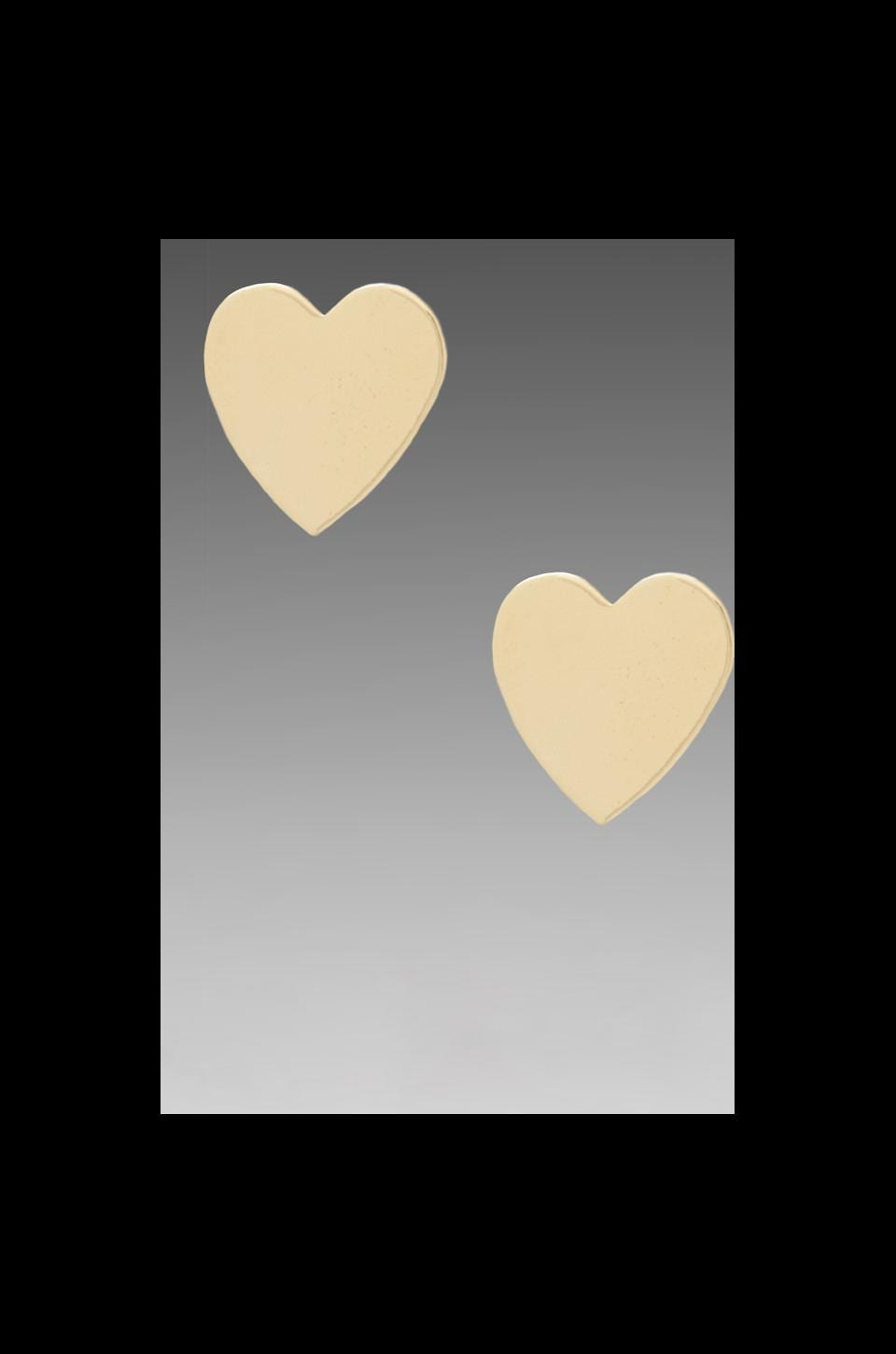 Bing Bang Heart Studs in Yellow gold