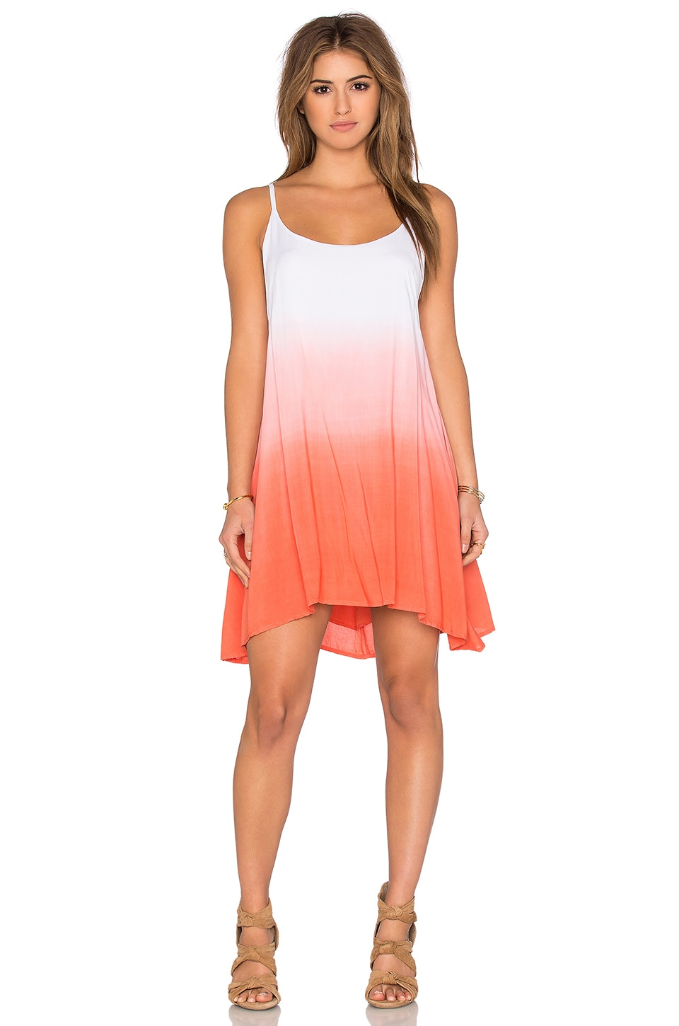 Bishop + Young Dip Dye Dress in Coral